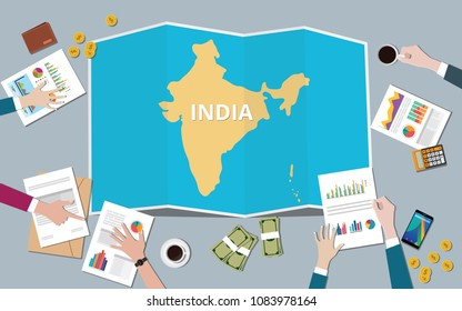 india country growth nation team discuss with fold maps view from top vector illustration
