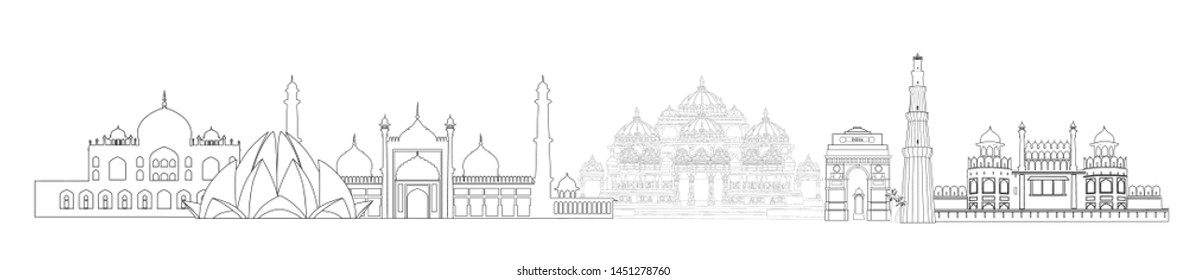 India, Delhi landmarks. Indian city New-Delhi travel skyline view