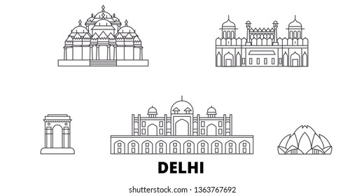 India, Delhi line travel skyline set. India, Delhi outline city vector illustration, symbol, travel sights, landmarks.