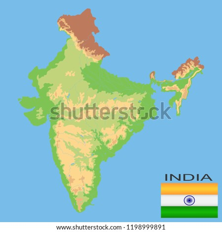 India Detailed Physical Map India Colored Stock Vector Royalty Free