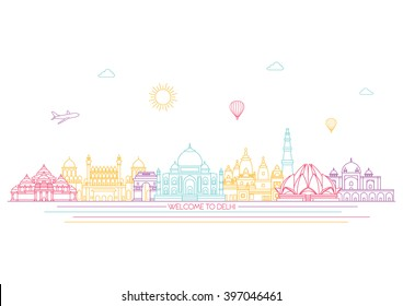 India detailed skyline. Travel and tourism background. Vector background. line illustration. Line art style