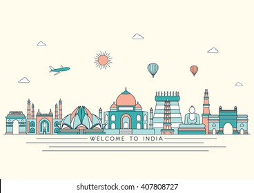 India detailed skyline. Travel and tourism background. Vector background. Line art style