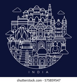 India detailed skyline. Travel and tourism background. Vector line illustration