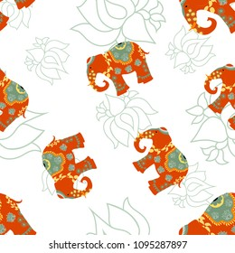India elephant on indian culture tradition. Hand drawn seamless pattern