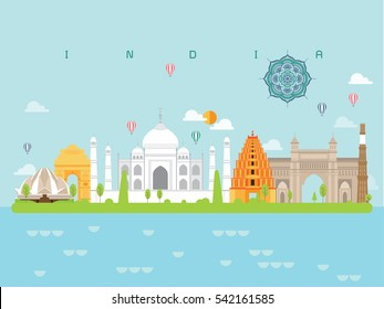 India Famous Landmarks Infographic Templates for Traveling Minimal Style and Icon, Symbol Set Vector Illustration Can be use for Poster Travel book, Postcard, Billboard.