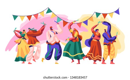 India Festival. Celebrate Holiday Day in Country. Traditional Style of Dance Include Refined and Experimental Fusion of Classical, Folk and Western Forms. Flat Cartoon Vector Illustration