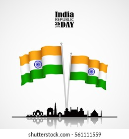 India flag 3D isolated with Skyline and Architectural Buildings on white background