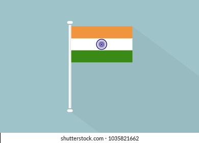 India Flag with flagpole,vector illustration