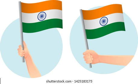 India flag in hand. Patriotic background. National flag of India vector illustration