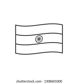 India flag icon in black outline flat design. Independence day or National day holiday concept.