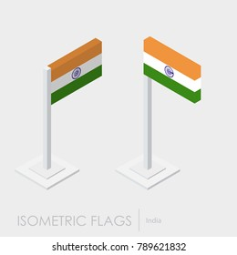 India flag isometric style,3D style, different views.100% editab