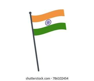 india flag. The national flag of india on a pole. The waving flag. The sign and symbol of the country. Realistic vector on white.