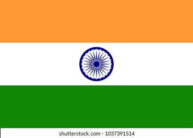 India flag with official colors and the aspect ratio of 2:3. Flat vector illustration.
