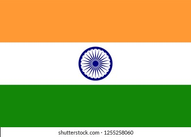 India Flag in Official Colors and Proportion. Vector Illustration.