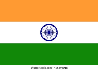 India flag, official colors and proportion correctly. National India flag. Vector illustration. EPS10.