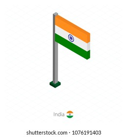 India Flag on Flagpole in Isometric dimension. Isometric blue background. Vector illustration.