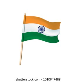 India flag (orange, white and green stripes, samsara wheel). Vector illustration