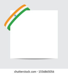India  flag.  India  patriotic banner with space for text. Happy India   Independent Day. Template of greeting card.