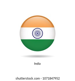 India flag - round glossy button. Vector Illustration.