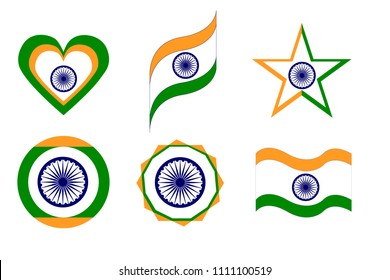 india, india flag in various geometric forms