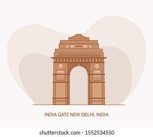 India Gate Flat Vector New Delhi India