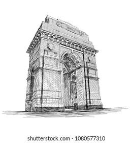 India Gate Vector Sketch Illustration War Memorial, New Delhi, India
