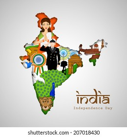 India at a glance, Republic of India map covered by Indian traditional culture, famous monuments, national bird and saluting soldier for Independence Day celebrations.