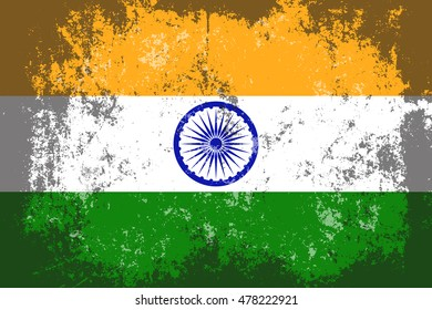 India grunge,scratch,old style flag