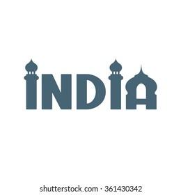 India. Hand lettering. Handmade calligraphy. Conceptual logo. Vector illustration.