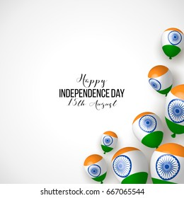 India, Happy independence day 15th august background design with confetti, balloons, flag.  Template for poster, banner, flyer, invitation, brochure, card, cover. 3d design.