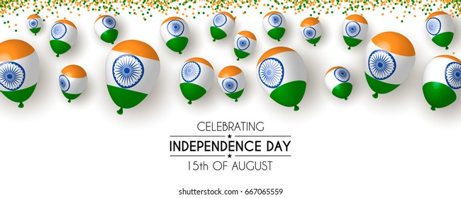 India, Happy independence day 15th august banner background design with confetti, balloons, flag. Template for poster, banner, flyer, invitation, brochure, card, cover. 3d design.