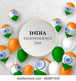 India, Happy independence day 15th august background design with flowers, symbol, flag. Template for poster, banner, flyer, invitation, brochure, card, cover. 3d design. Sale offer design.
