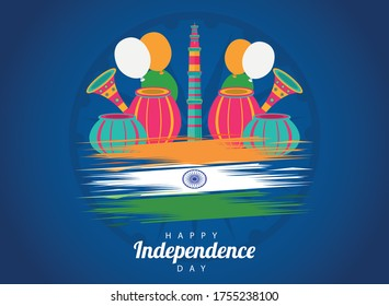 india happy independence day celebration card with temple towers vector illustration design - Shutterstock ID 1755238100