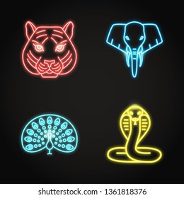 India icons set in glowing neon style