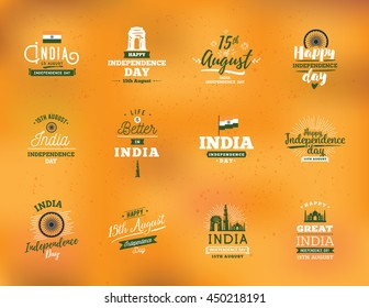 India Independence day, 15 august. Vector typographic emblems, logo or badges. Usable for Independence day of India greeting cards, print, t-shirts, posters and 15 august banners.