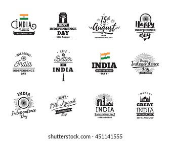 India Independence day, 15th august. Vector typographic emblems, logo or badges. Usable for Independence day of India greeting cards, print, t-shirts, posters and India Independence day banners.