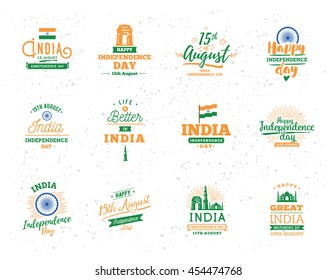 India Independence day, 15th august. Vector typographic emblems, logo or badges. Usable for Independence day of India greeting cards, 15 august t-shirts, posters and India Independence day banners.
