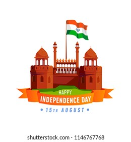 India Independence Day card isolated on white background. Cartoon India greeting card design template.