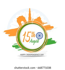 India Independence Day celebration background with Ashoka Wheel and National Flag -15th August.