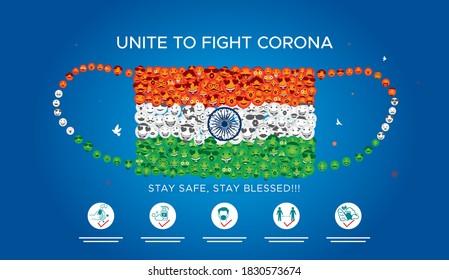 India independence day creative and corona virus Covid 19 safety mask