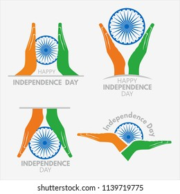 India Independence day, Hands holding indian ashok chakra with different styles.
