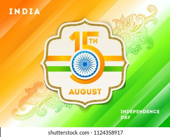 India independence day illustration. Paper frame with holiday date & Ashoka wheel on a abstract  background in the colors of indian national flag with traditional indian ornament. Vector illustration.