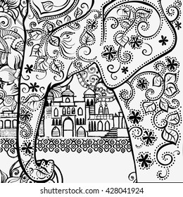India. Indian elephant. Coloring pages