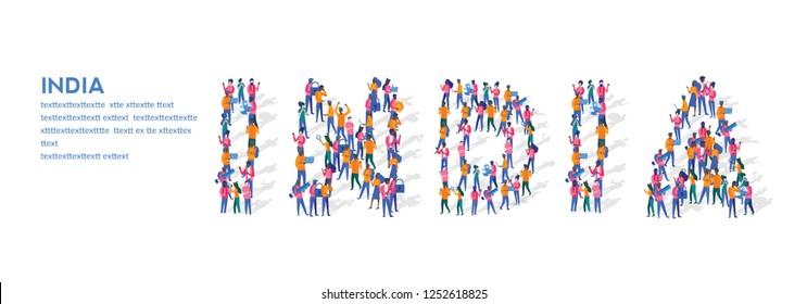 India Isometric Vector Concept, Group of business people are gathered together in the shape of India word, for web page, banner, presentation, social media, Crowd of little people. teamwork