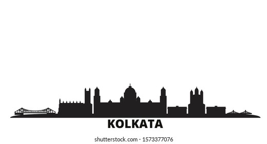 India, Kolkata city skyline isolated vector illustration. India, Kolkata travel black cityscape
