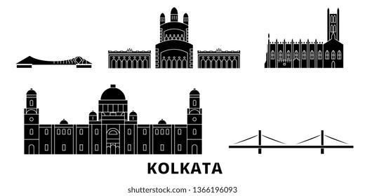 India, Kolkata flat travel skyline set. India, Kolkata black city vector illustration, symbol, travel sights, landmarks.