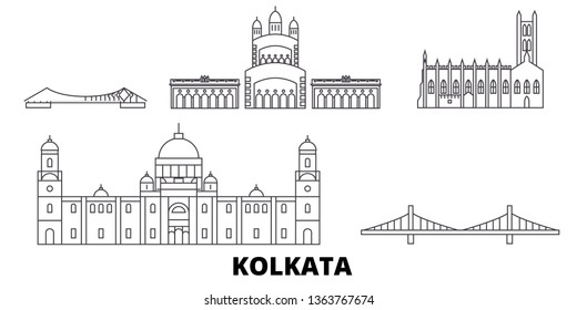 India, Kolkata line travel skyline set. India, Kolkata outline city vector illustration, symbol, travel sights, landmarks.
