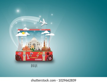 India Landmark Global Travel And Journey paper background. Vector Design Template.used for your advertisement, book, banner, template, travel business or presentation