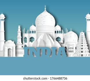 India Landmark Global Travel And Journey paper background. Vector Design Template.used for your advertisement, book, banner, template, travel business or presentation.