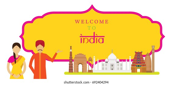 India Landmarks with People in Traditional Clothing, Frame, Culture, Travel and Tourist Attraction